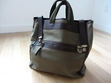 Barneys New York Large Tote Bag Handbag Canvas Leather Made in Italy Rare!