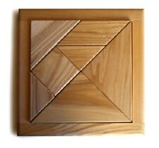 NEW Wooden Tangram Classic Creative Brainteaser Puzzle 7 pieces, Natural Wood