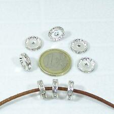20 Abalorios Con Cristales 12mm T63A Plateados Rhinestone Crystal Perline