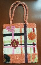 Ladies Beaded Evening Bag Purse Handbag Small EUC orange red pink black creme
