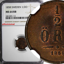 Sweden Oscar I Bronze 1858 1/2 Ore Ngc Ms64 Rb Red Brown Km# 686
