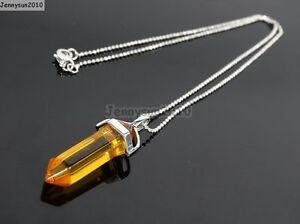 Natural Gemstones Hexagonal Pointed Reiki Chakra Pendant 18K Silver Necklace