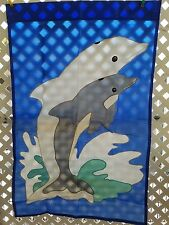 """New Creative Enterprises """"DOLPHINS""""  2-sided hanging Garden Flag 27 1/2 """"X 42"""""""