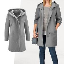 warmer Mantel Gr.40/42 Wintermantel Boucle wattiert Wollmantel JACKE Kapuze grau
