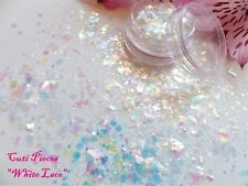 3D Nail Art Chunky *White Lace* Myler Hexagon Holographic Glitter Spangle Pot
