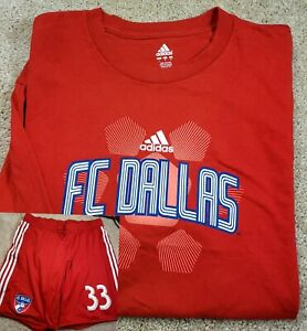 ADIDAS MLS FC DALLAS-New Red Cttn Tee, Red #33 Seat Lined Logo Print Shorts-(L)