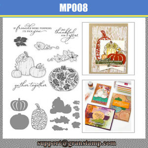 PRETTY PUMPKINS Clear Stamps and Cutting Dies Set Greeting Card Scrapbooking