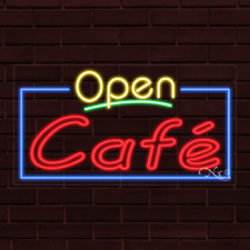 "Brand New ""Open Cafe"" w/Border 37x20X1 Inch Led Flex Indoor Sign 35421"