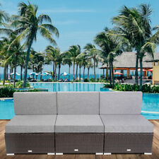3PCS Outdoor PE Patio Furniture Couch Wicker Rattan Garden Sofa Sectional Set