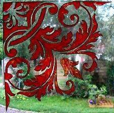 WICOART WINDOW DECAL STICKER CLING FAUX STAINED GLASS CORNER BAROQUE 20X20