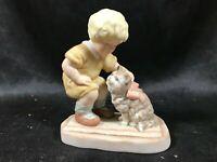 Vintage 1982 ENESCO Porcelain Figurine Treasured Memories Pals Boy Kitten