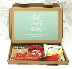 Get well soon Gift Personalised Tea Treat Hamper Biscuits Hug Take a break