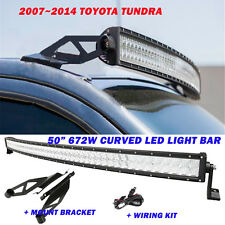 "5D 50"" 672W CREE Curved Led Light Bar +Mount Brackets For Toyota Tundra 07~14"