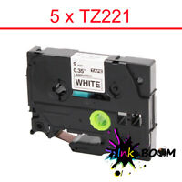 5 Label with Brother TZ-221 TZe-221 P-Touch Tape Black on White 9mm x 8m