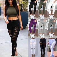 Women Skinny Ripped High Waist Denim Pants Stretch Jeggings Jeans Pencil Trouser