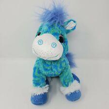 "Wild Republic Horse Pony 14"" Blue Purple Stripes Stuffies Soft Toy Heart Eyes"