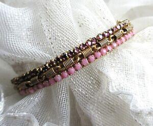 MIRIAM HASKELL Vintage Pink Purple Rhinestone HINGE BRACELET