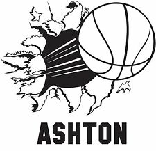 BASKETBALL Bursting Through Wall w/ Personalized  Name Vinyl Wall Decal