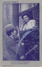Antique COMIC ROMANTIC POSTCARD c1909 Spooners Delight Serenade Lovers
