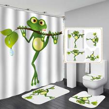 Cute Cartoon Frog Door Bath Mat Toilet Cover Rugs Shower Curtain Bathroom Decor