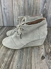 TOMS Suede Wedge Lace-Up Ankle Boots Booties Tan Womens Size 9