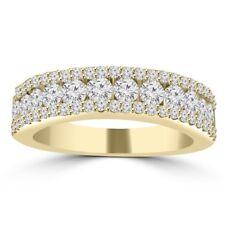 1.16 ct Ladies Three Row Round Cut Diamond Wedding Band in 14 kt Yellow Gold