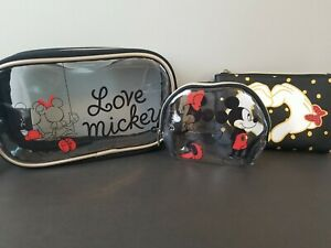 Love Mickey 3 Piece Pouch Make-up Bag Coin Purse Set Travel Minnie Mouse Disney