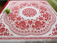 "Vintage Chinese Red Brocade Silk 39"" Sq Tablecloth Woven Floral Pattern Fringes"