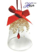 Retired Christmas Bell Ornament Small Gold Red 2019 Swarovski Crystal 5464882