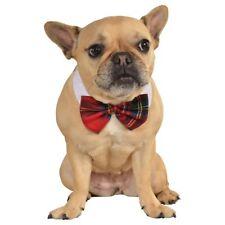 Dog Christmas Outfit Plaid Pet Bow Tie Fancy Dress