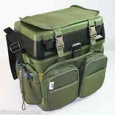 NGT Fishing Green Seat Box with Harness Rucksack Converter Includes Side Tray