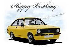 Ford Escort Mk2 Mexico RS  21st 40th 50th 60th Birthday Car Greetings Card **YEL