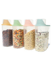 2.5L 4Pcs Plastic Cereal Dispenser Storage Box Kitchen Food Grain Rice Container