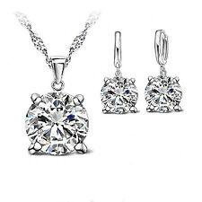 925 Sterling Silver Clear Cubic Zirconia Jewellery Set. Necklace + Drop Earrings