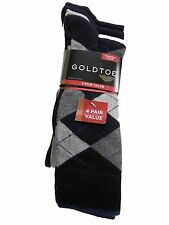 GoldToe Fashion 4 Pair Value NWT Mens 10 to 13 Navy 410 Overstock Clearance