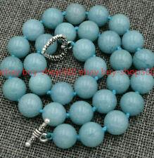 "12mm Brazil natural Aquamarine Gemstone Necklace 18 ""Tibetan silver clasps"