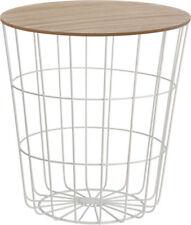Design Beistelltisch weiß - Holz Deko Tisch Couchtisch Sofatisch Metall Korb
