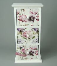 White trinket jewellery storage 3 Drawer Floral  Bloom Cabinet