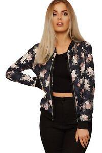 Ladies Print Front Zip Up Bomber Jacket Coat Long Sleeves Casua Rose Floral 8-22