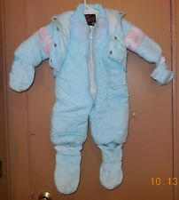 Arctic Racer Snow Suit with Mittens Size 12M light blue pink