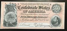 Reproduction Copy Confederate States $500 1864 Please Read Description Below