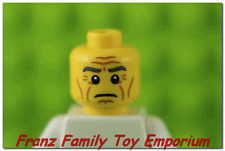 New LEGO Minifig Head Gray Eyebrows Wrinkles Cheek Lines King Emperor Body Part