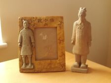Vintage Chinese Clay Warrior Soldier Figurine Replica & Modern Photo Frame.