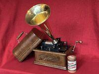 Antique EDISON STANDARD Cylinder Phonograph Brass Horn Record Excellent Restored
