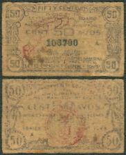 US Philippine 50 Centavos, LEYTE WW2 Guerrila Emergency Note 1943