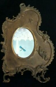 ANTIQUE VICTORIAN FLORAL BEE LIZARD RELIEF REPOUSSE CAST IRON PHOTO MIRROR FRAME