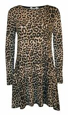 Women Brown Leopard Check Print Long Sleeve Swing Dress Skater Plus Size 8-26