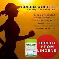 Green Coffee 1000mg | 60 Capsules Slimming Fat Burn Weight Loss Lindens [3206]