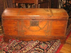ANTIQUE EARLY TRUNK CHEST DOME TOP NATURAL 1816 MIDDLETON CT NEWS PAPER INTERIOR