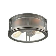 Elk Lighting 2-Light Flush Mount, Clear Glass, Black Nickel - 12112-2